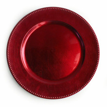 Case of 24 Red Round Beaded Charger Plates