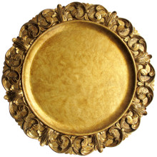 "Case of 12 Gold Emboss 14"" Round Charger Plates"