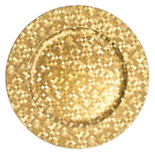 "Case of 24 Gold Mosaic 13"" Round Charger Plates"