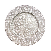 "Case of 24 Silver Mosaic 13"" Round Charger Plates"