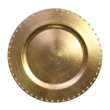 "Case of 24 Gold Jeweled Rim 13"" Round Charger Plates"