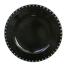 "Case of 24 Black Jeweled Rim 13"" Round Charger Plates"
