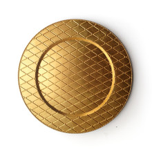 "Case of 12 Gold Plaid 13"" Round Acrylic Charger Plates"
