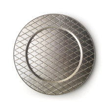 "Case of 12 Silver Plaid 13"" Round Acrylic Charger Plates"