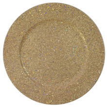 "Case of 24 Gold Glitter 12.75"" Round Charger Plates"