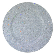 "Case of 24 Silver Glitter 12.75"" Round Charger Plates"