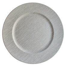"Case of 12 Silver Fabric 13"" Round Charger Plates"