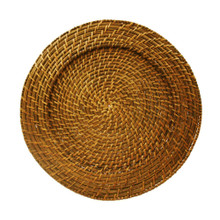 "Case of 6 Amber Rattan 13"" Round Charger Plates"