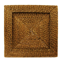 "Case of 6 Honey Rattan 13"" Square Charger Plates"