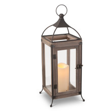 "Large Stained Wood and Wire Lantern with Glass Panes and Timer 18""H"