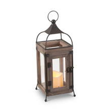 "Small Stained Wood and Wire Lantern with Glass Panes and Timer 14""H - 4 Lanterns"