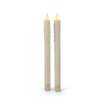 "Bisque Silicone LED Battery Taper Candles (10.75"" tall) - 12 Candles"