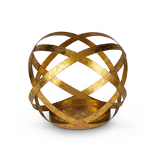 Case of 4 Antique Gold Finish Metal Sphere Candleholders