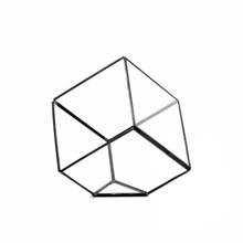 Black Tilted Cube Geometric Glass Terrarium, Heptahedron - 12 Pieces