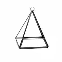 Black Triangle Pyramid Geometric Glass Terrarium, Pentahedron - 12 Pieces