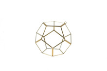 Small Gold Prism Geometric Glass Terrarium, Dodecahedron - 12 Pieces