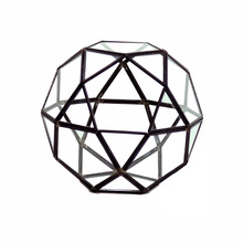 "7.5"" x 7.5"" Geometric Glass Terrarium, Icosidodecahedron Complicated Multi-Facet, Black Frame - 4 Pieces"