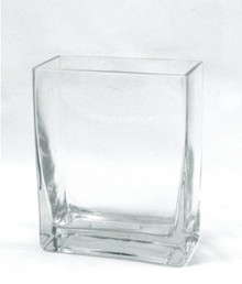 "2.5"" x 8"" Clear Block Vase, 10 inches high - 8 Pieces"