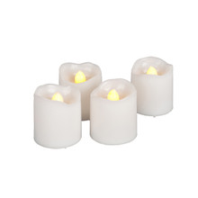 Wavy Edge Plastic LED Votives with Timer - 24 Pieces
