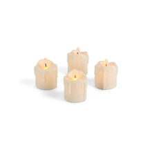 Bisque Wavy Heavy Drip Flame LED Votives - 44 Pieces