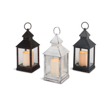 Plastic Lantern with LED Candle and Glass Panes and Timer - 12 Lanterns