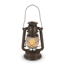 Large Rustic Brown Indoor/Outdoor FireGlow Hurricane Lantern with Dimmer Switch - 2 Lanterns
