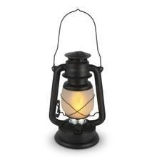 Large Matte Black Indoor/Outdoor FireGlow Hurricane Lantern with Dimmer Switch - 2 Lanterns