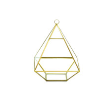 Gold Raised Pyramid Geometric Glass Terrarium, Nonahedron - 6 Pieces