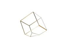 Gold Tilted Cube Geometric Glass Terrarium, Heptahedron - 12 Pieces