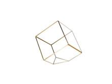 Gold Tilted Cube Geometric Glass Terrarium, Heptahedron - 12 Pieces