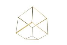 Big Gold Tilted Cube Geometric Glass Terrarium, Heptahedron - 4 Pieces