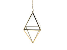 Gold Standing Diamond Geometric Glass Terrarium, Octahedron - 6 Pieces
