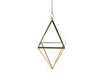 Gold Standing Diamond Geometric Glass Terrarium, Octahedron - 6 Pieces