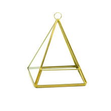 Gold Triangle Pyramid Geometric Glass Terrarium, Pentahedron - 12 Pieces