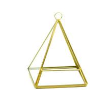 Gold Triangle Pyramid Geometric Glass Terrarium, Pentahedron - 12 Pieces