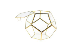 Medium Gold Prism Geometric Glass Terrarium, Dodecahedron - 4 Pieces