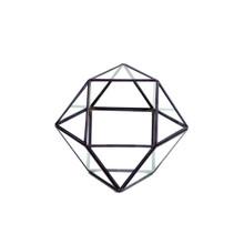 Black Cuboctahedron Multi-Facet Ball Geometric Glass Terrarium - 8 Pieces