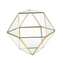 Gold Cuboctahedron Multi-Facet Ball Geometric Glass Terrarium - 8 Pieces