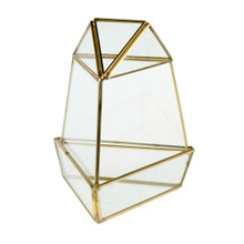 Gold Short Triangular Obelisk Geometric Glass Terrarium - 9 Pieces