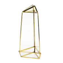 Gold Tall Triangular Obelisk Geometric Glass Terrarium - 9 Pieces