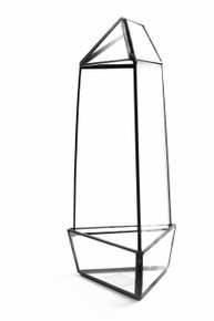 Black Tall Triangular Obelisk Geometric Glass Terrarium - 9 Pieces