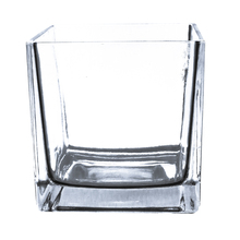5 Inch Clear Cube Vase, Utility Grade - 12 Pieces