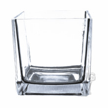 6 Inch Clear Cube Vase Utility Grade - 6 Pieces