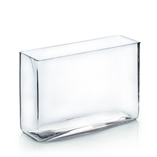 "4"" x 12"" x 10"" Clear Round Rectangular Vase - 6 Pieces"