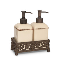 "Cream Acanthus Leaf Double Soap/Lotion Dispensers by GG Collection, 8.5""H"