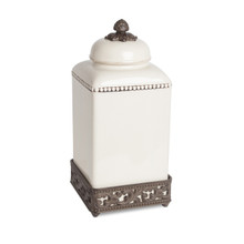 """Large Acanthus Leaf Canister with Metal Base by GG Collection, 15""""H"""