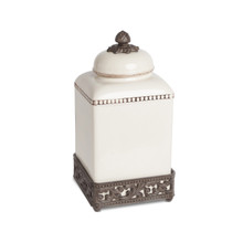 """Medium Acanthus Leaf Canister with Metal Base by GG Collection, 13.5""""H"""