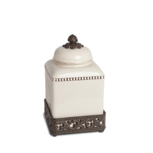 "Small Acanthus Leaf Canister with Metal Base by GG Collection, 12""H"