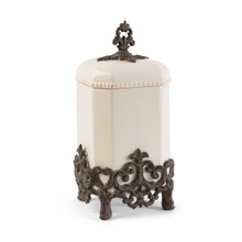"Medium Provencial Canister with Metal Base by GG Collection, 15""H"