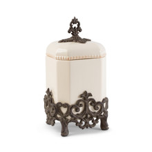 "Small Provencial Canister with Metal Base by GG Collection, 14""H"